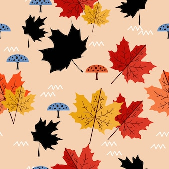 Maple leaves with mushroom pattern background
