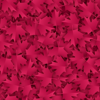 Maple seamless pattern paper cut in burgundy color palette.