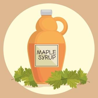 メープルシロップカナダの製品ベクトルイラストデザイン