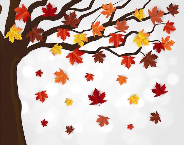 Maple tree, autumn bokeh vector background