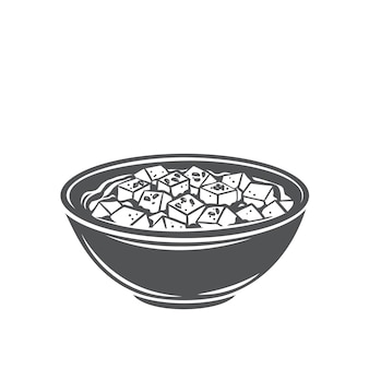 Mapo tofu chinese cuisine glyph monochrome icon. asian food engraved