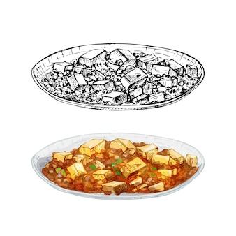 麻婆豆腐を皿に。白い背景で隔離のヴィンテージベクトルハッチング色手描きイラスト
