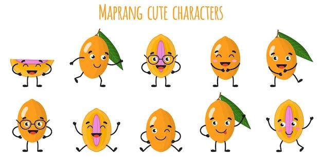 Мапранг фрукты милые веселые веселые персонажи с разными позами и эмоциями