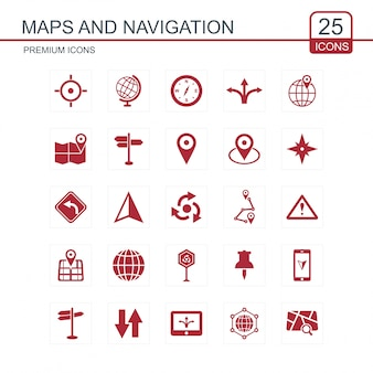 Maps and navigations set of icons red