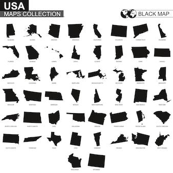 米国の州の地図コレクション、米国の州の黒い等高線図。ベクトルセット。