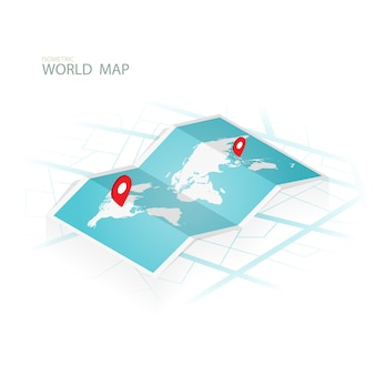 Maps & navigation isometric,wolrd map vector