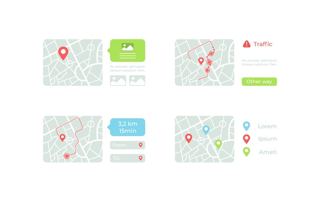 Maps with routes ui elements kit