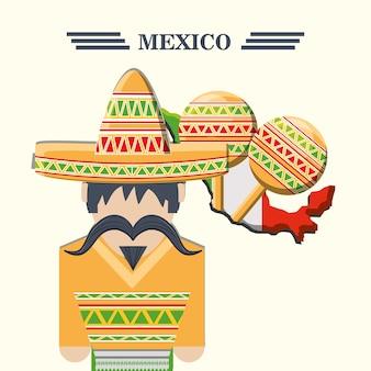 白い背景の上のマラカスとメキシコの男のアイコン