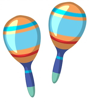 Maracas set on white background