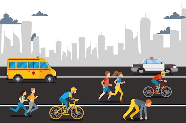 Человек марафона athelete на дороге города, иллюстрации. спорт на открытом воздухе, скоростной бег, катание на велосипеде для здоровья и соревнования.