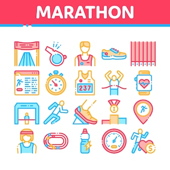 Marathon collection elements icons set