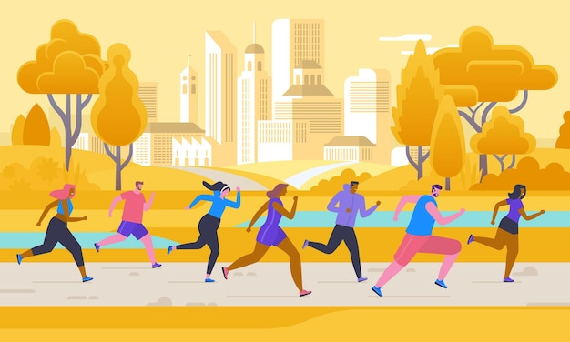 Marathon competition, outdoor workout or exercise, athletics. men and women dressed in sportswear jogging or running through park. healthy active lifestyle. flat cartoon colorful vector illustration.