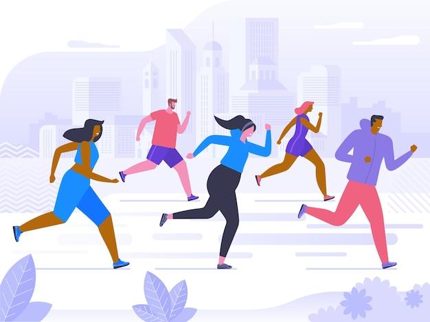 Соревнования по марафону, тренировка на свежем воздухе или упражнения, легкая атлетика. мужчины и женщины, одетые в спортивную одежду, бегают трусцой или бегают по парку. здоровый активный образ жизни. плоский мультфильм красочные векторные иллюстрации.