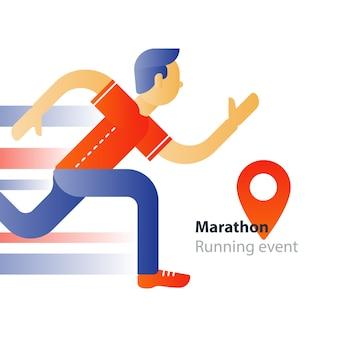 マラソンイベント、ランニングスポーツレース、動いている人、トライアスロンアスリート男、抽象的な漫画