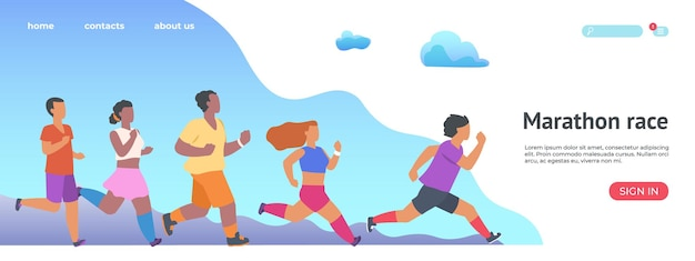 Целевая страница марафонской гонки. веб-сайт людей, занимающихся бегом спортивной группы.