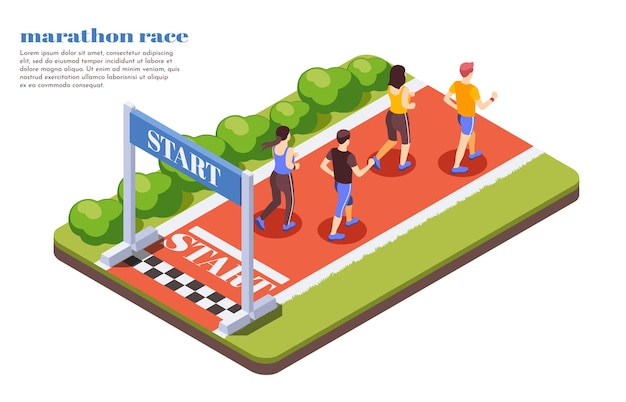 参加者が晴れた夏の日のテキストでジョギングコンテストを開始するマラソンレースランナーの等尺性構成