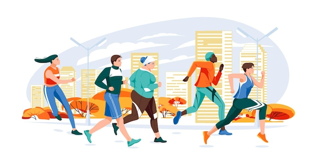 マラソンレーシンググループフラット漫画秋cで走っている男性と女性の現代ベクトルイラスト
