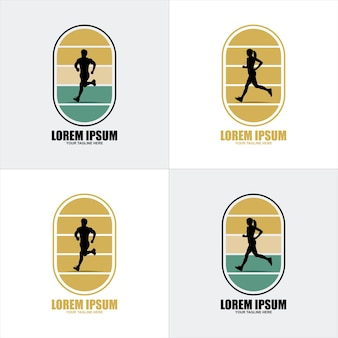 マラソンラン。走っている人、男性と女性のグループ。孤立したベクトルのシルエット