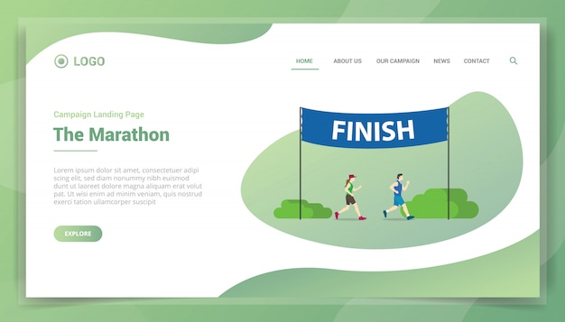 Marathon run with finish banner for website template or landing homepage