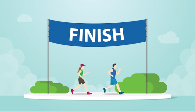 Marathon run with men and woman running on finish banner with modern flat style - vector
