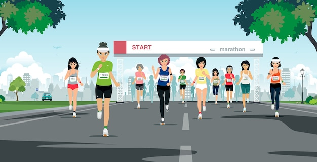 マラソンランナーは都市公園の出発点にいます