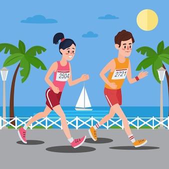 マラソンランナー。海辺を走る男と女