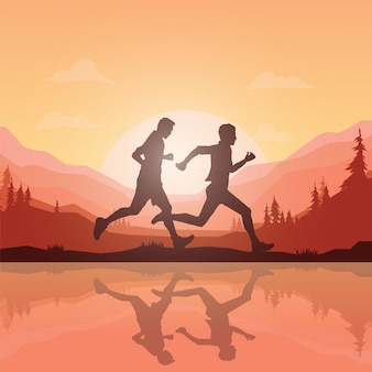 Силуэты марафонцев.