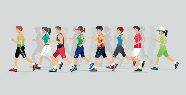 男性と女性のマラソンランナー