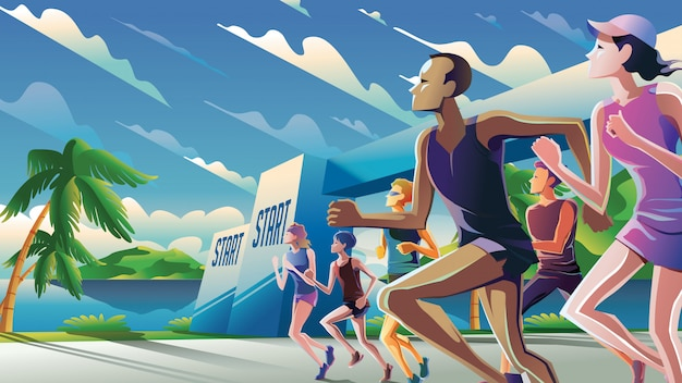 Marathon running theme art
