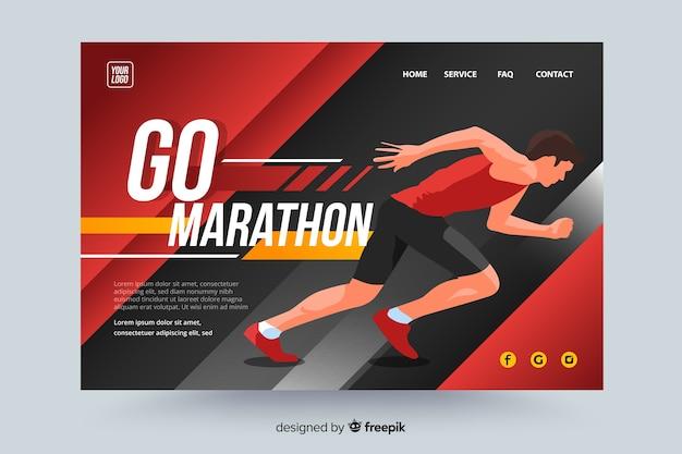 Pagina di destinazione sportiva della maratona