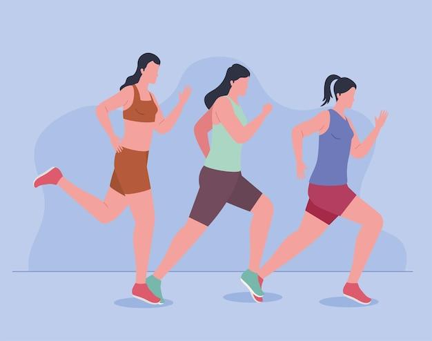 Marathon sportswomen running