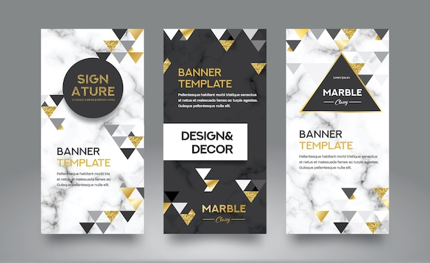 Marble abstract background with gold glitter web banner template