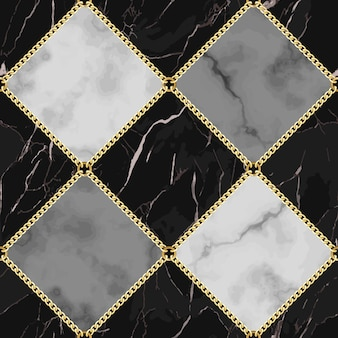 大理石とジュエリーのシームレスパターンブラックホワイトとグレーの四角い大理石の表面にゴールドのチェーンが付いています