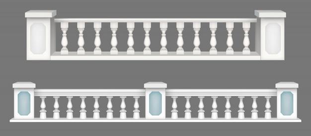 Мраморная балюстрада, балконные перила или поручни.