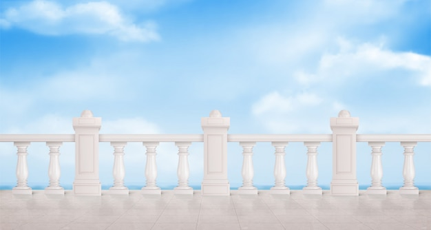 Marble balustrade with blue cloudy sky