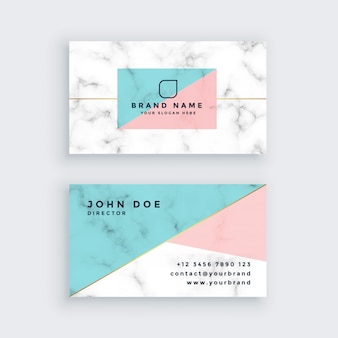 Marble business card in pastel colors