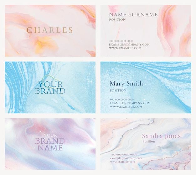 Marble business card template vector in colorful feminine style set