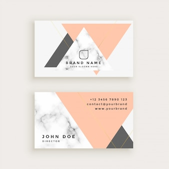 Marble business card with triangle shapes in pastel colors