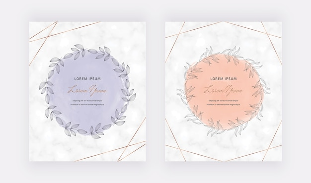 Marble cards with golden geometric polygonal lines and hand drawn watercolor wreath frames.