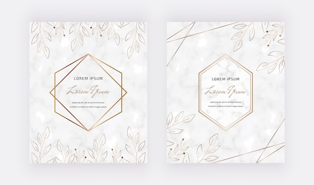 Мраморные карты с листьями, геометрические золотые линии рамы. модные шаблоны