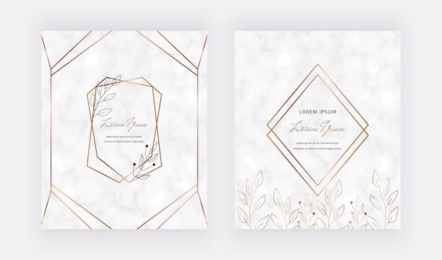 Мраморные карточки с листьями, геометрические рамки из золотых линий