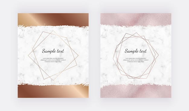 Marble design cards with golden geometric polygonal frames and rose gold brush stroke.