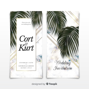 Marble effect wedding invitation template