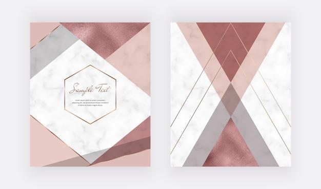 분홍색과 회색 삼각형, 장미 금박 질감, 다각형 라인이있는 대리석 기하학적 디자인.