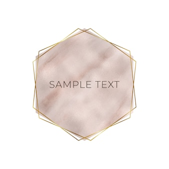 Marble geometric design with pink and rose gold triangular foil texture, golden frame