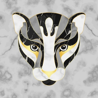 Marble and gold abstract panther head on seamless marble background