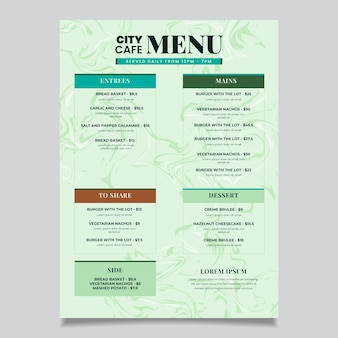 Modello di menu di cibo sano in marmo
