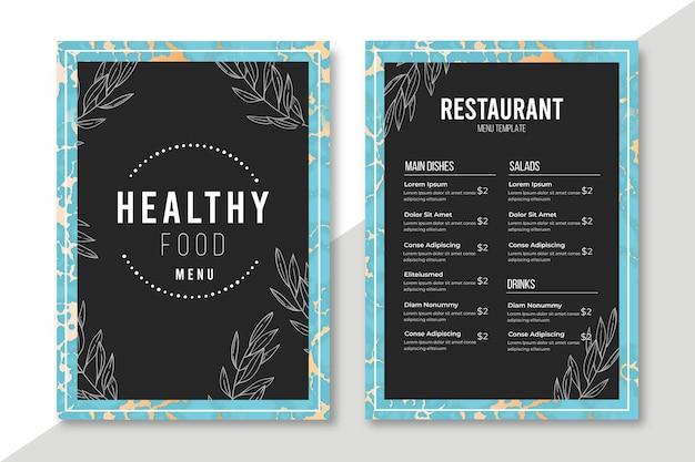 Marble healthy food menu template