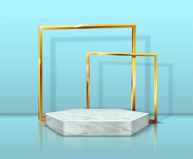 Marble hexagon stand and golden frames on blue