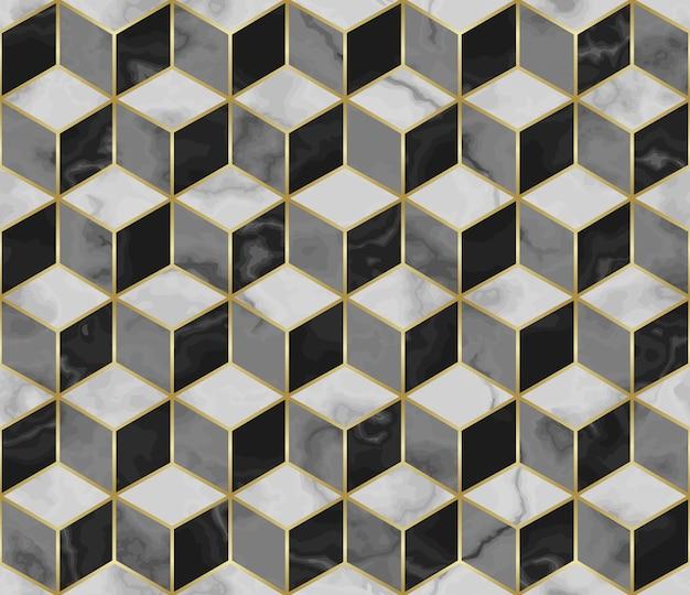 큐브 3d 효과와 금 기하학적 장식이 있는 대리석 모자이크 원활한 패턴